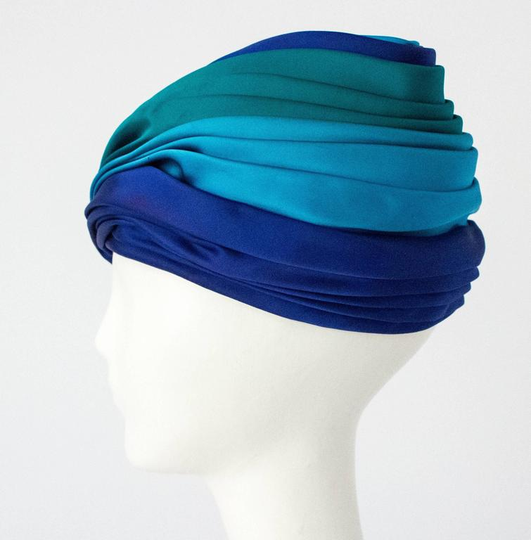 Blue 60s Christian Dior Silk Satin Turban  For Sale