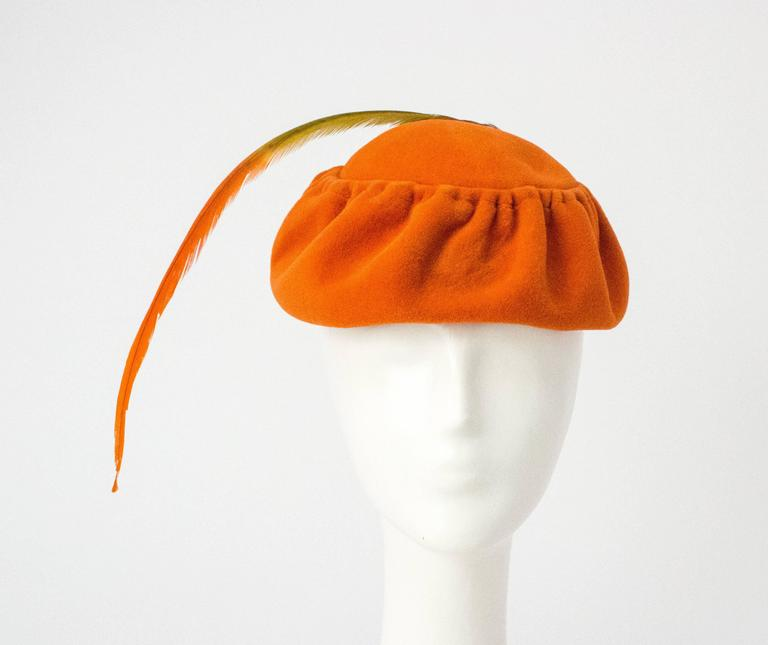 Orange 50s Ransohoff Wool Felt Hat Made in Italy For Sale