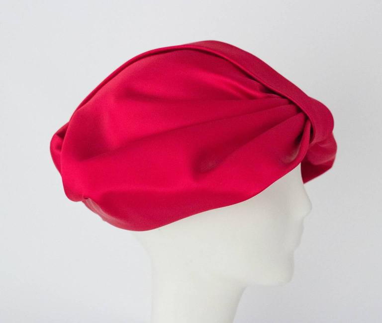 60s Pink Satin Bow Turban In Excellent Condition For Sale In San Francisco, CA
