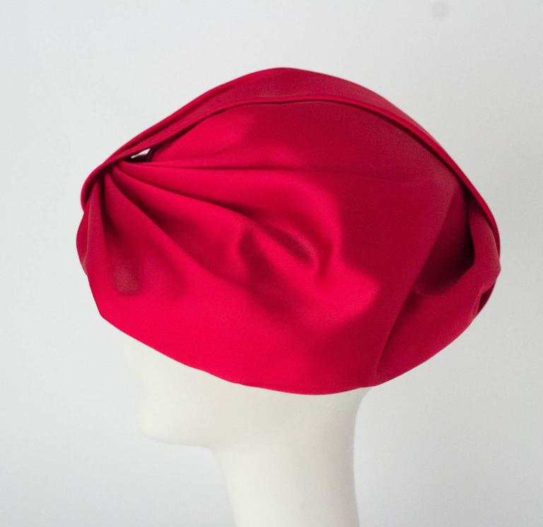 Women's 60s Pink Satin Bow Turban For Sale