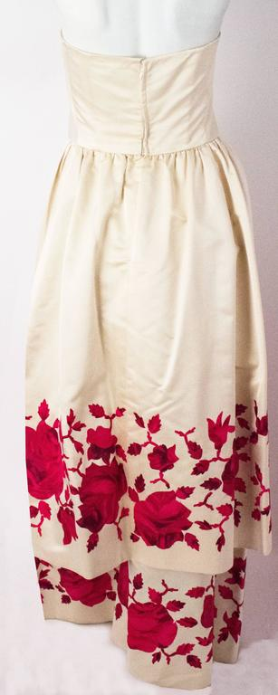 50s Silk Satin Tiered Strapless Gown In Good Condition For Sale In San Francisco, CA