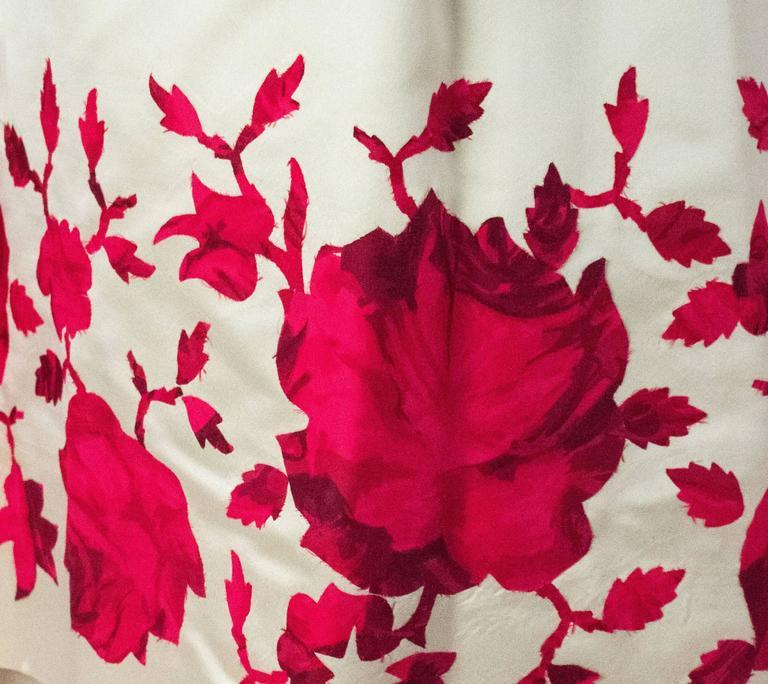 Beige 50s Silk Satin Tiered Strapless Gown For Sale
