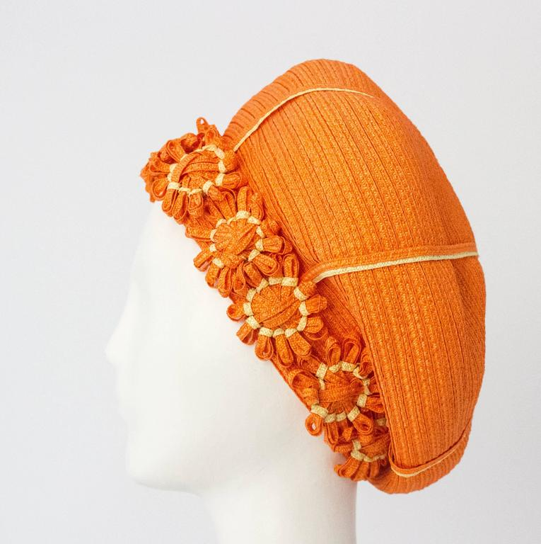 Gray 60s Christian Dior Orange Daisy Straw Hat  For Sale