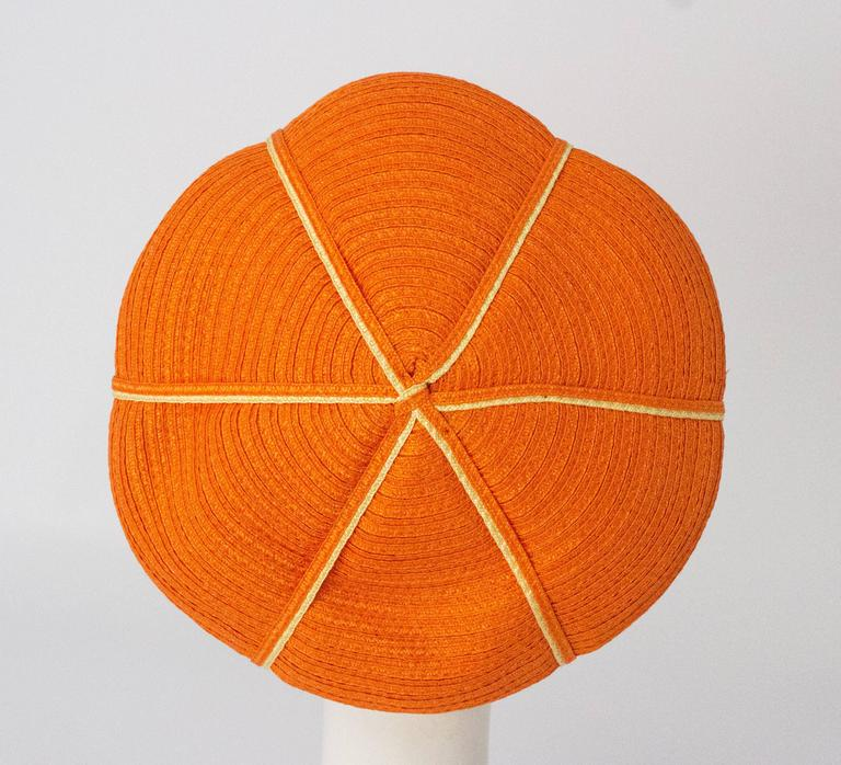 60s Christian Dior Orange Daisy Straw Hat  In Excellent Condition For Sale In San Francisco, CA