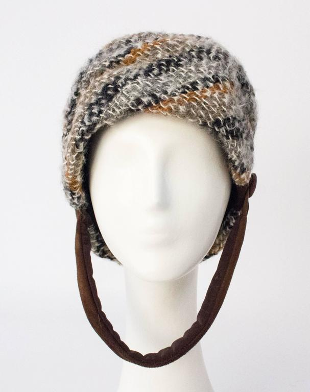 """60s Christian Dior Knit Helmet  21 1/4"""" circumference 8 1/2"""" height (not including chinstrap)"""