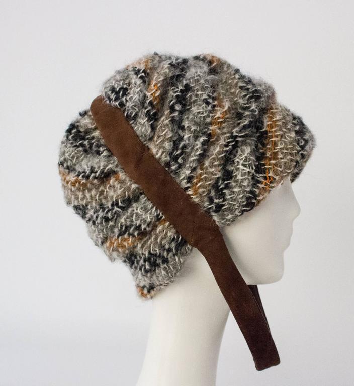 Black 60s Christian Dior Knit Helmet For Sale