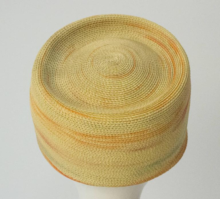 60s Christian Dior Paris Straw Hat In Excellent Condition For Sale In San Francisco, CA
