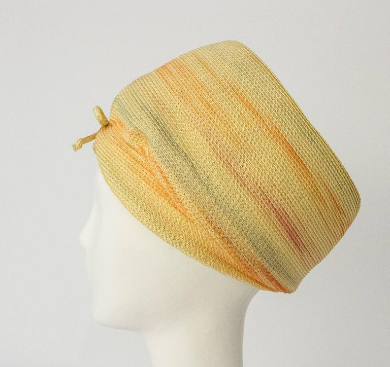 Beige 60s Christian Dior Paris Straw Hat For Sale