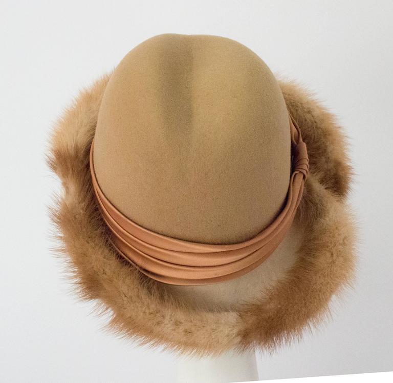 Beige 70s Tan Mink Trimmed Hat For Sale