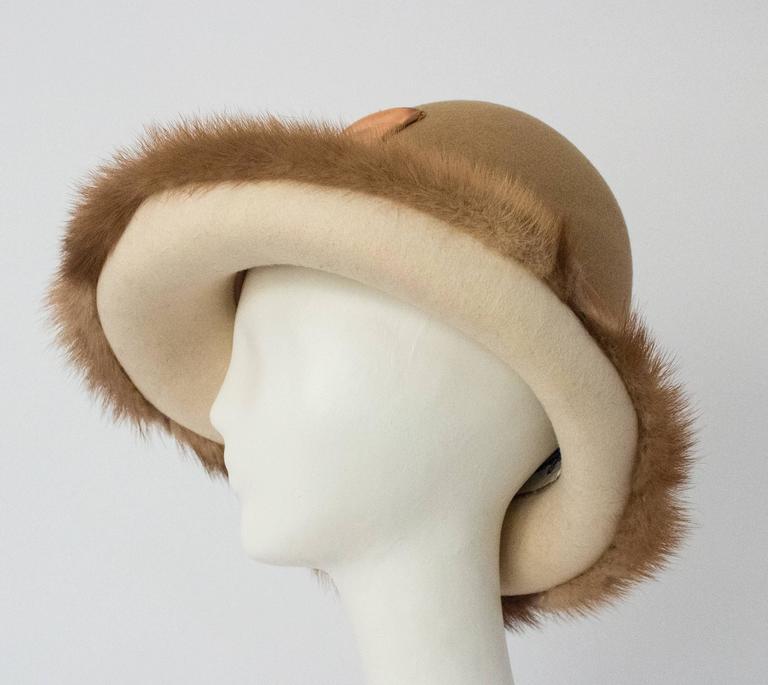 70s Tan Mink Trimmed Hat. 21 1/2
