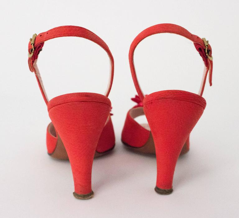 50s Red Peep-toe Slingback Heel For Sale 1