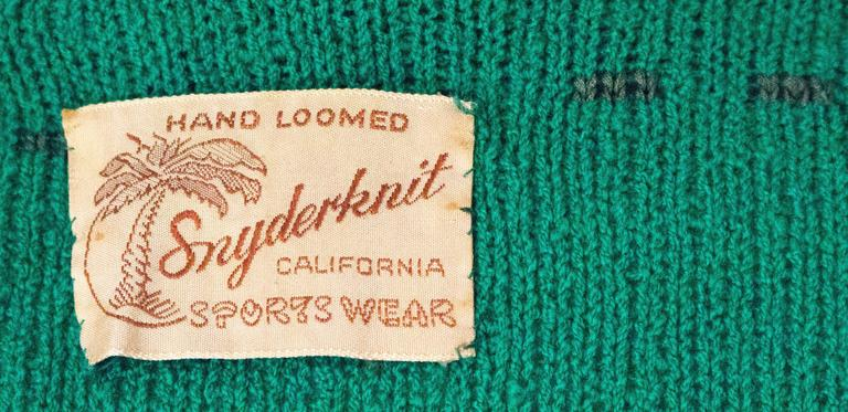 50s Green Knit Sweater Top With Ribbon Weave For Sale 2