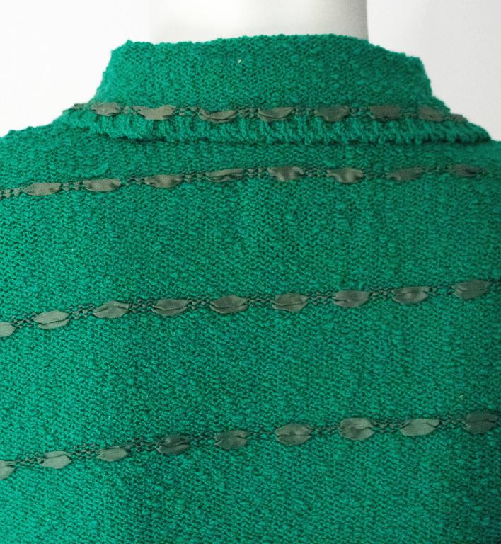 50s Green Knit Sweater Top With Ribbon Weave For Sale 1