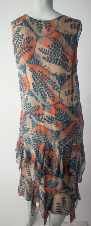 20s Silk Chiffon Fern Print Dress 2