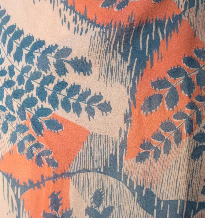 20s Silk Chiffon Fern Print Dress 3