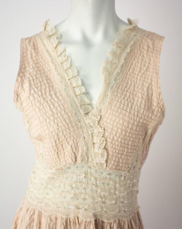 Brown 70s Lace Boho Dress For Sale