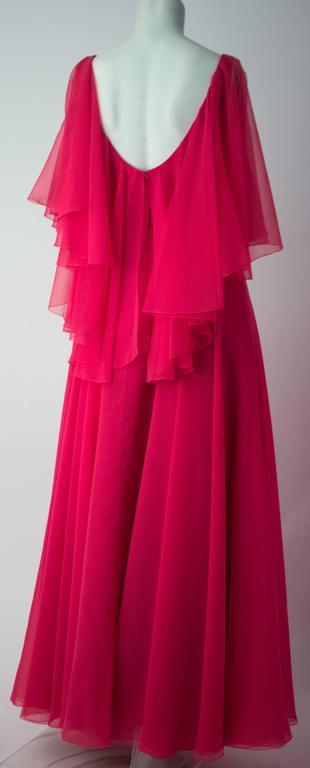 70s Shocking Pink Chiffon Ruffle Dress. Empire waist. Back zip closure.
