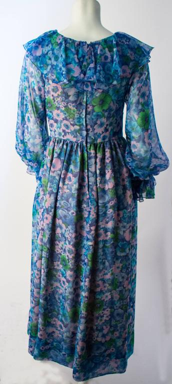 70s Blue Floral Vintage Chiffon Ruffle Dress In Excellent Condition For Sale In San Francisco, CA