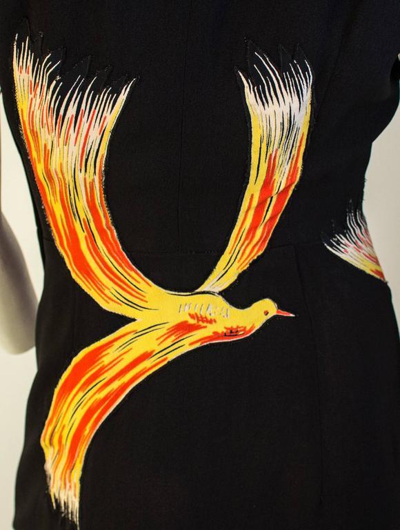 40s Black Fire Bird Dress 2