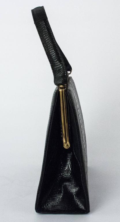 50s Roos Atkins Black Lizard Handbag In Excellent Condition In San Francisco, CA