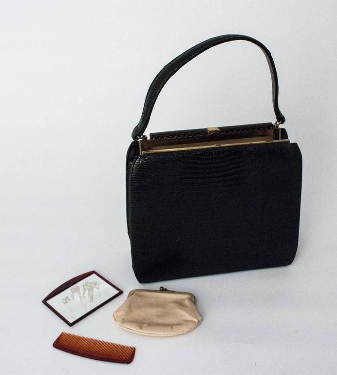 50s Roos Atkins Black Lizard Handbag 1