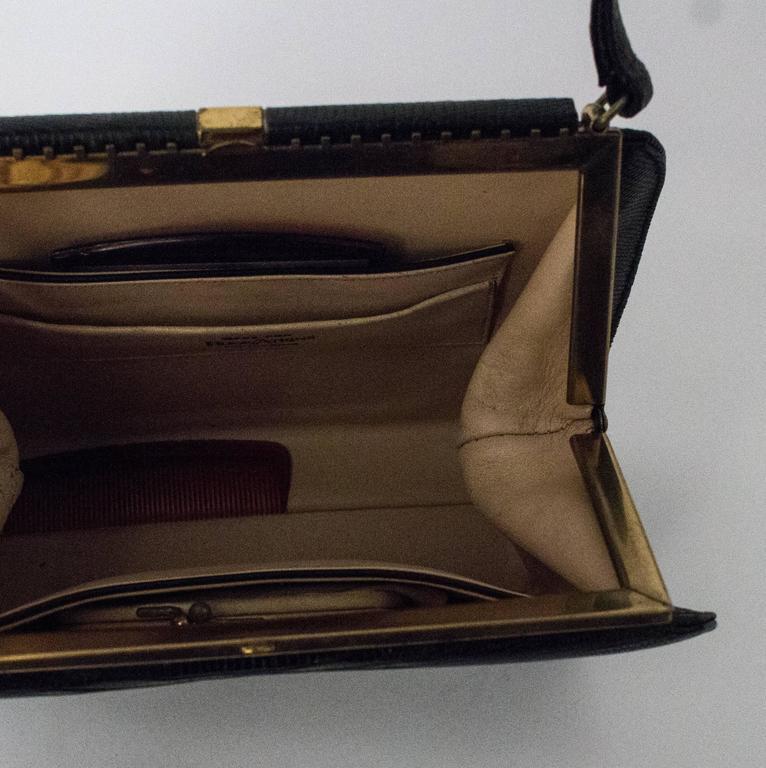 50s Roos Atkins Black Lizard Handbag 2