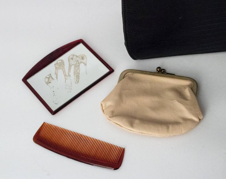 50s Roos Atkins Black Lizard Handbag 3