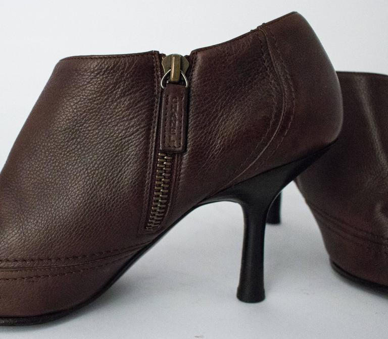 90s Chanel Brown Trumpet Heel Pointed Toe Bootie In Good Condition For Sale In San Francisco, CA