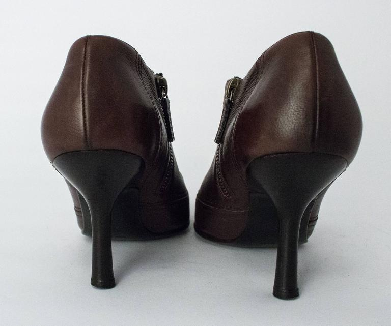 Black 90s Chanel Brown Trumpet Heel Pointed Toe Bootie For Sale