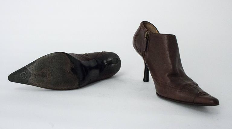 Women's 90s Chanel Brown Trumpet Heel Pointed Toe Bootie For Sale