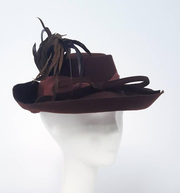 Black 40s Brown Wide Brimmed Fashion Hat For Sale