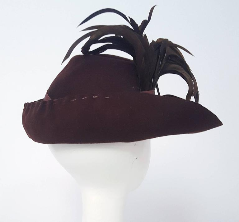 40s Brown Wide Brimmed Fashion Hat In Excellent Condition For Sale In San Francisco, CA