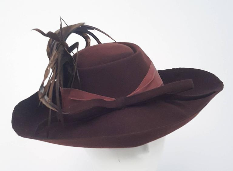Women's 40s Brown Wide Brimmed Fashion Hat For Sale