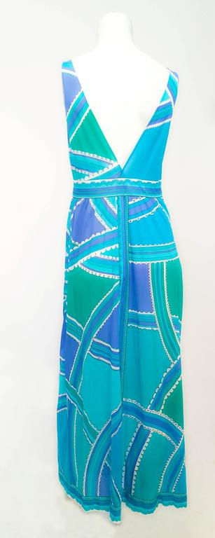 70s Emilio Pucci for Formfit Rodgers Blue/Green Printed Slip/Dress In Excellent Condition For Sale In San Francisco, CA