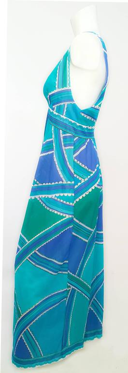 70s Emilio Pucci for Formfit Rodgers Blue/Green Printed Slip/Dress. Nylon jersey.