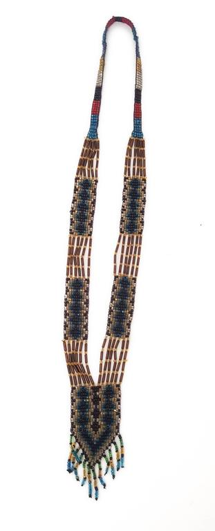 """20s Glass Bead Native Style Necklace.   16"""" long front center front to bottom, laid flat 3/4"""" wide 1 1/2"""" """"pendant"""""""