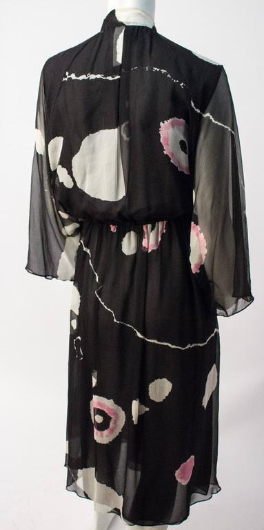 70s Hanae Mori Printed Silk Chiffon Dress. Front snap closure. Elasticated waist.  Rayon lining.   28