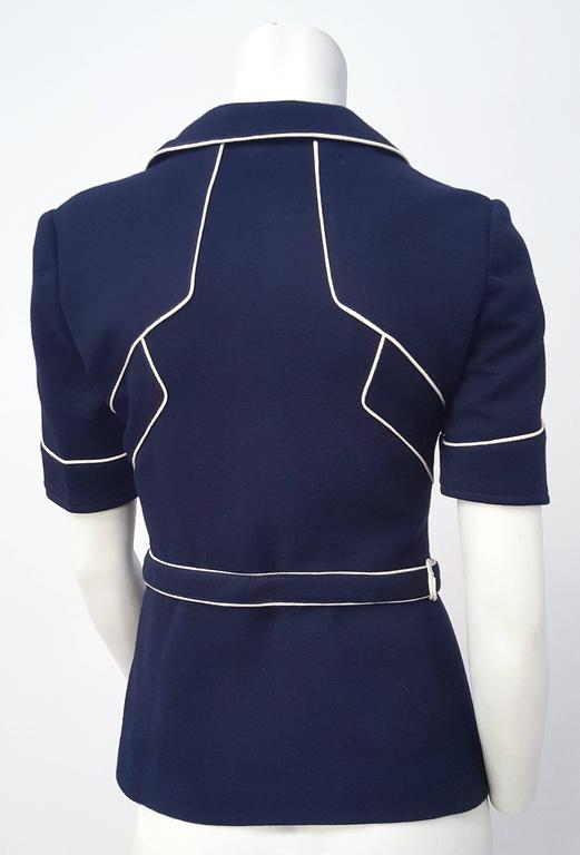 Black 60s Navy Blue Knit Top w/ White Piping For Sale