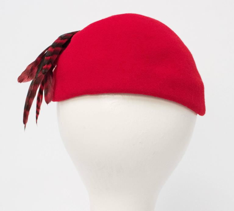 "50s Red Wool Felt Fashion Hat w/ Feathers. 22"" circumference."