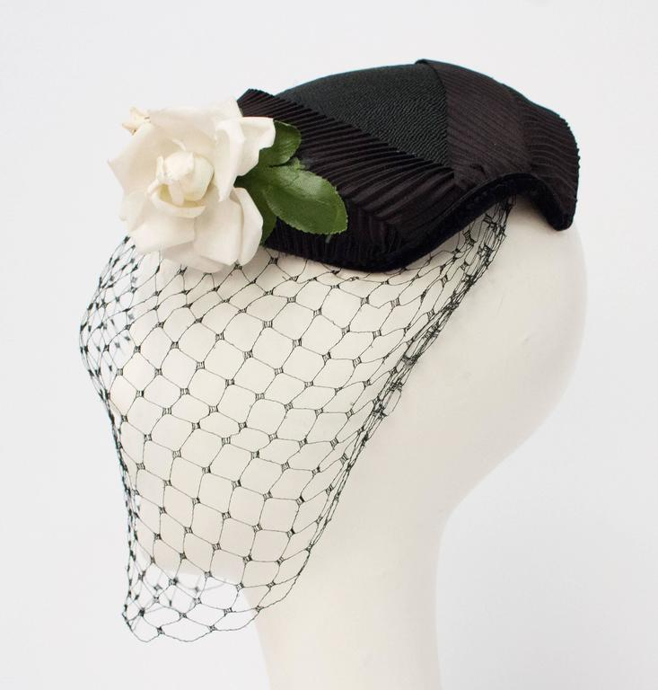 50s Black Veiled Hat w/ White Flower.