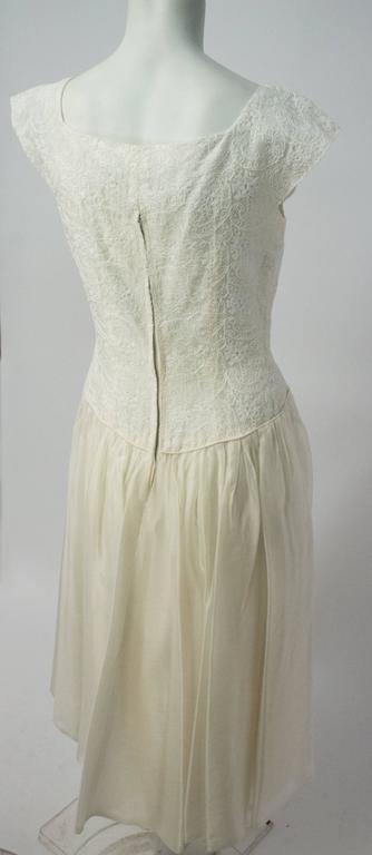 50s Emma Domb White Embroidered Organza Dress 2