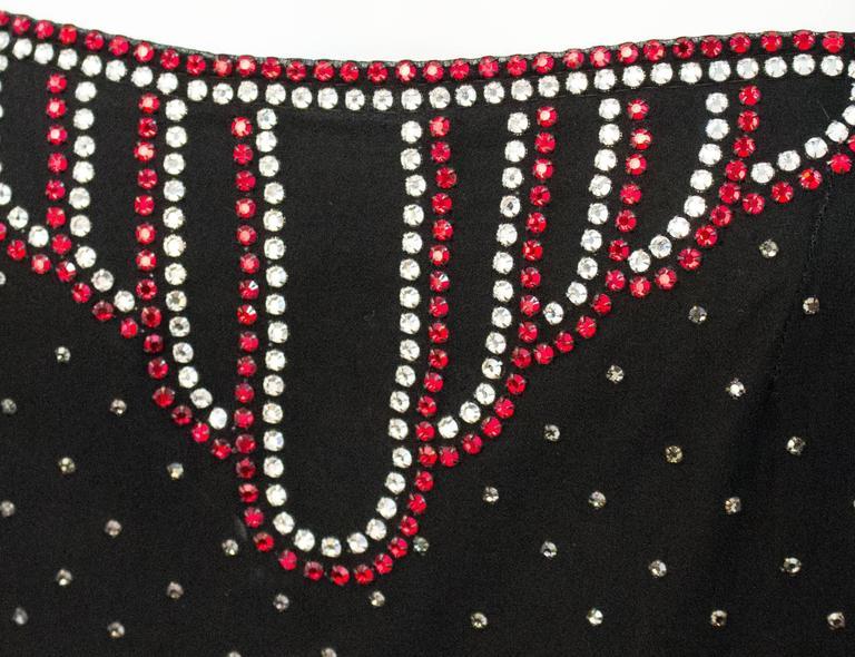 20s Rhinestone Black Silk Dress In Excellent Condition For Sale In San Francisco, CA