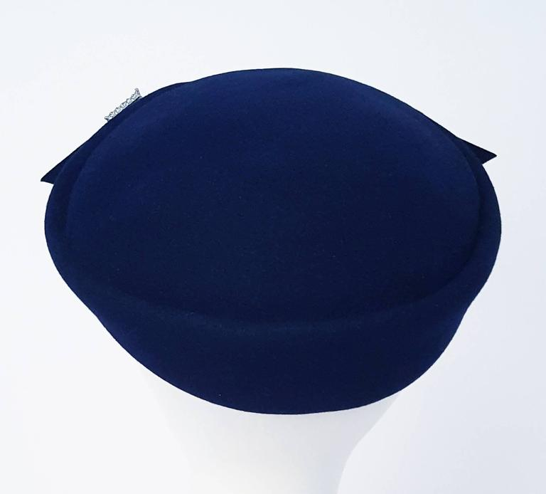 Women's 40s Navy Felt Hat with Rhinestone Accents  For Sale