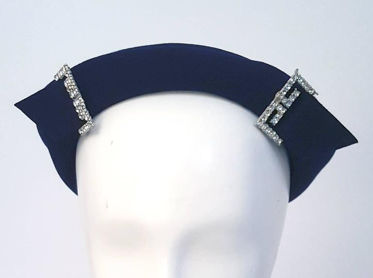 40s Navy Felt Hat with Rhinestone Accents  In Excellent Condition For Sale In San Francisco, CA