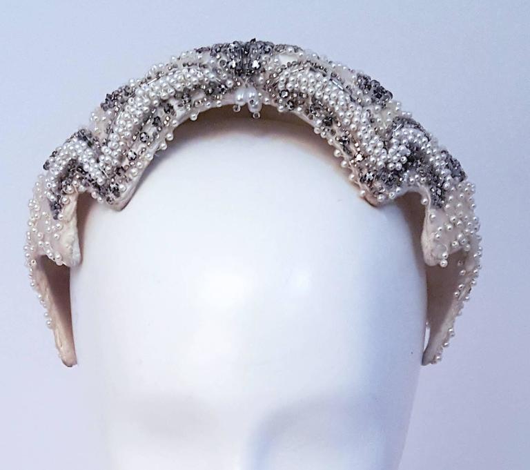 50s Beaded White Satin Hat. Wool felt interior.