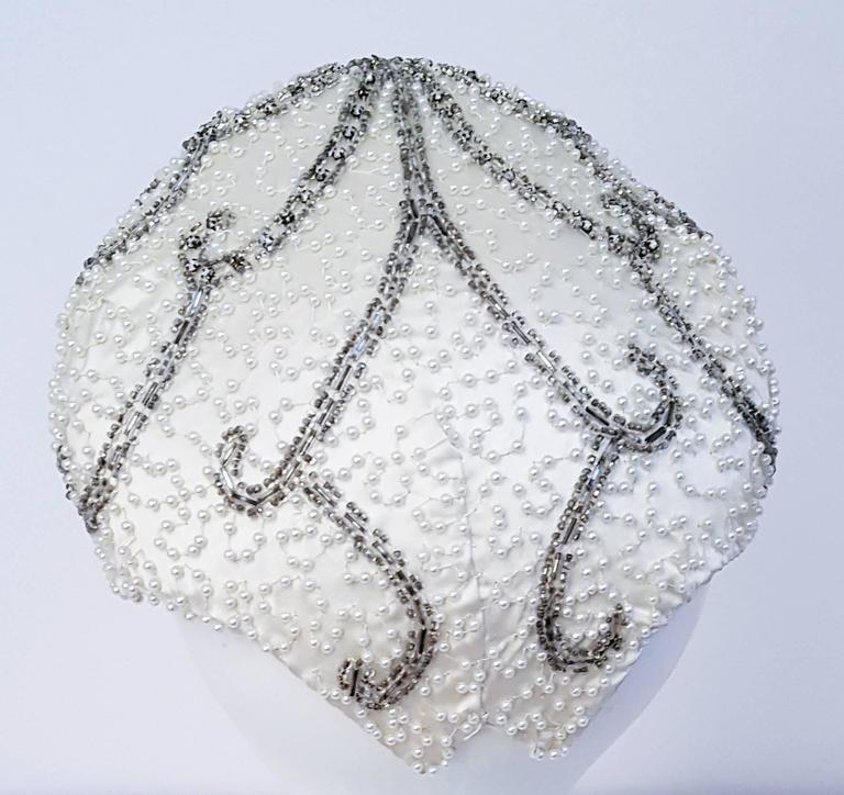 Gray 50s Beaded White Satin Hat For Sale