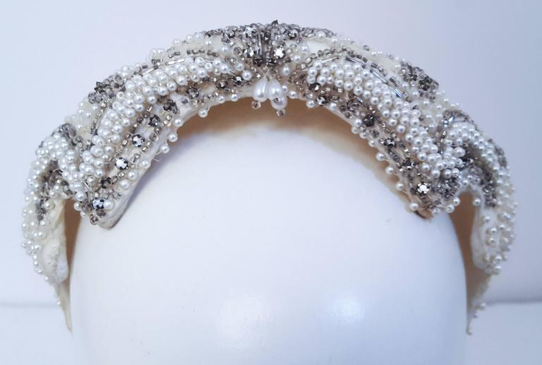 50s Beaded White Satin Hat In Excellent Condition For Sale In San Francisco, CA
