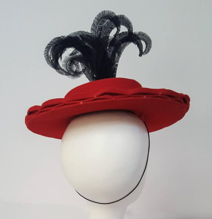 40s Red Felt Toy Fashion Hat with Hand Curled Feathers  4