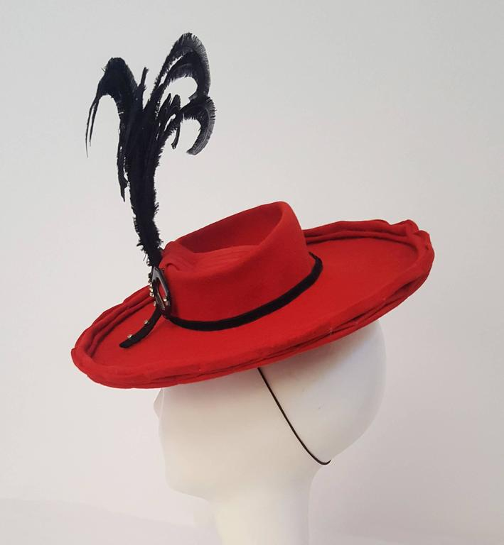 40s Red Felt Toy Fashion Hat with Hand Curled Feathers  3
