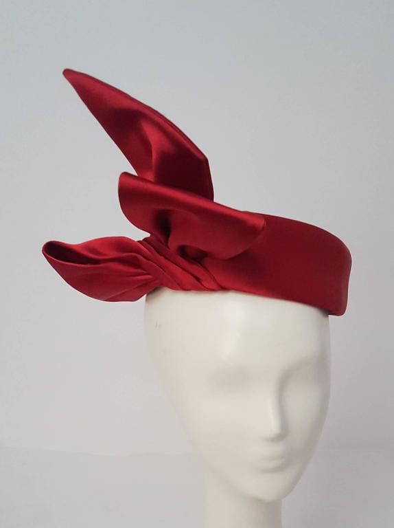 Red 50s Cranberry Satin Bow Pill Box Fashion Hat For Sale